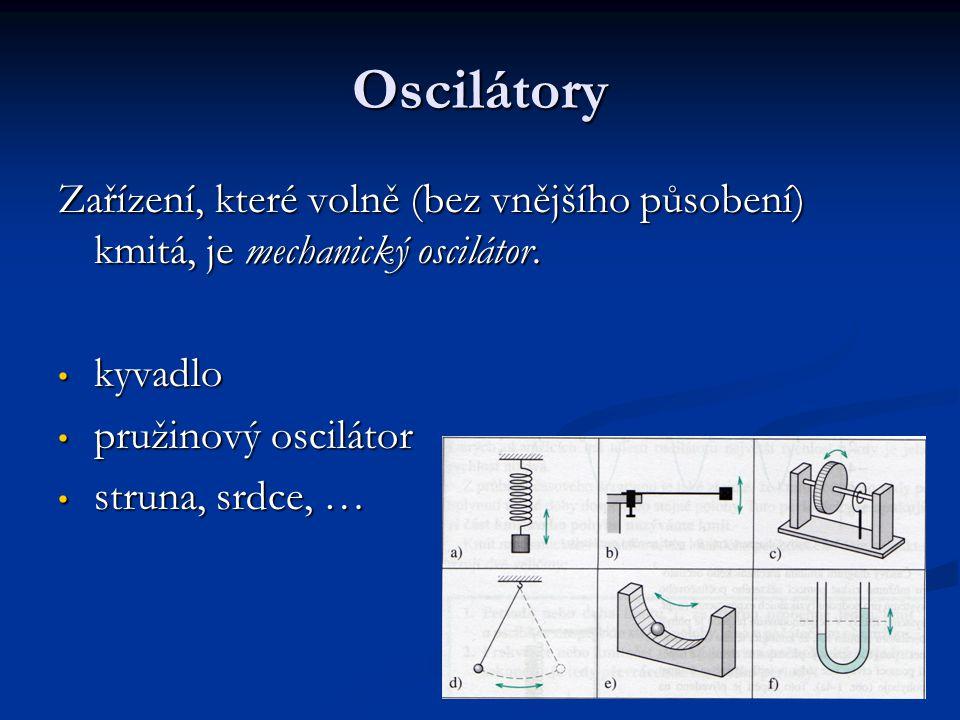 Oscilátory Zařízení, které volně (bez vnějšího působení) kmitá, je mechanický oscilátor. kyvadlo. pružinový oscilátor.