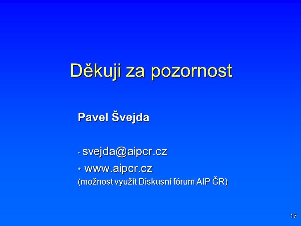 Děkuji za pozornost Pavel Švejda www.aipcr.cz svejda@aipcr.cz