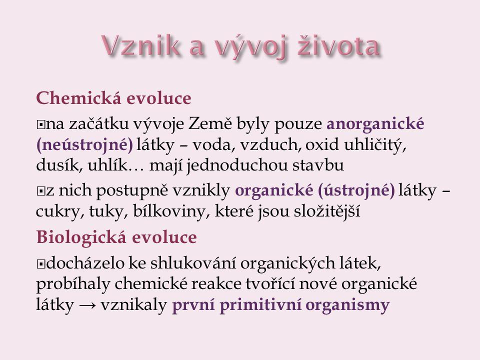 Vznik a vývoj života Chemická evoluce Biologická evoluce