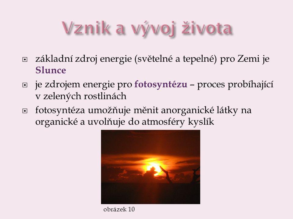 Vznik a vývoj života základní zdroj energie (světelné a tepelné) pro Zemi je Slunce.