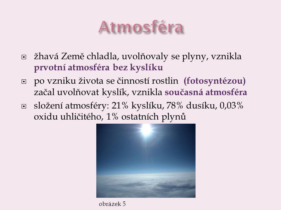 Atmosféra žhavá Země chladla, uvolňovaly se plyny, vznikla prvotní atmosféra bez kyslíku.