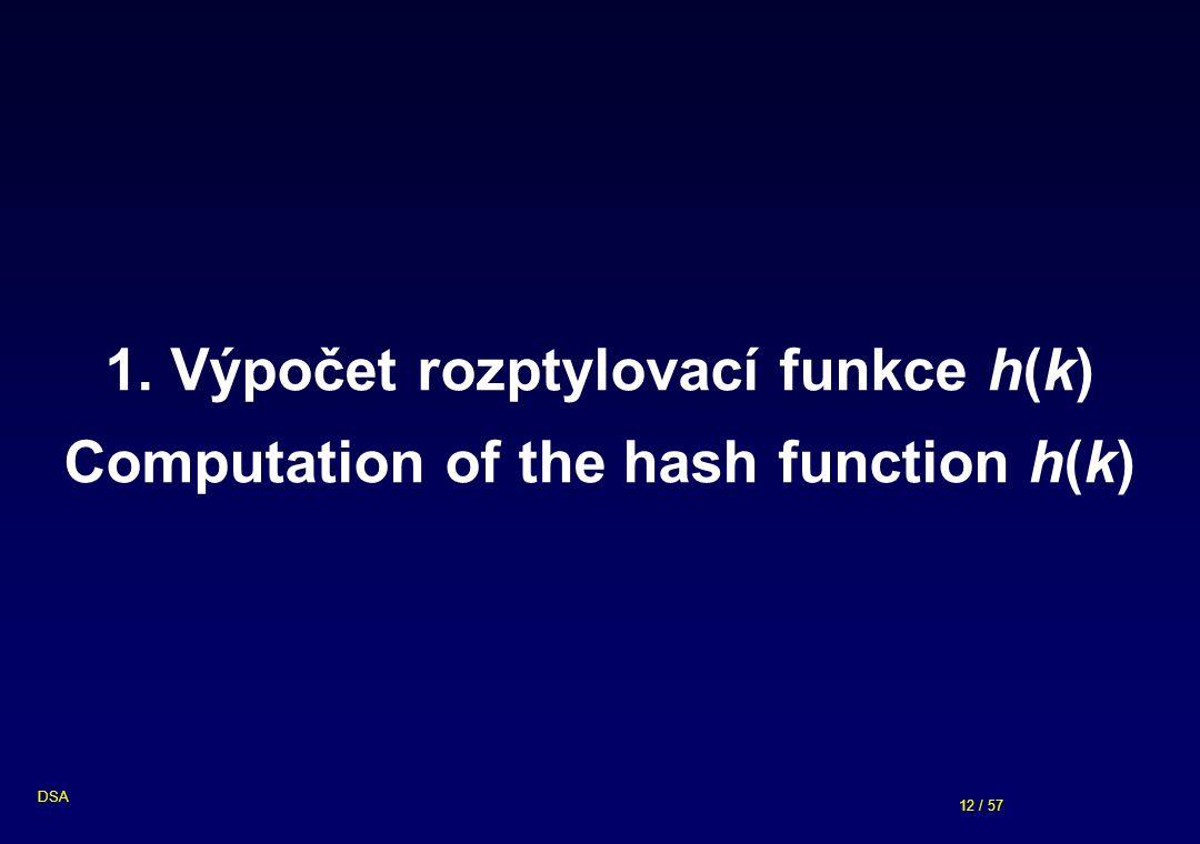 1. Výpočet rozptylovací funkce h(k) Computation of the hash function h(k)