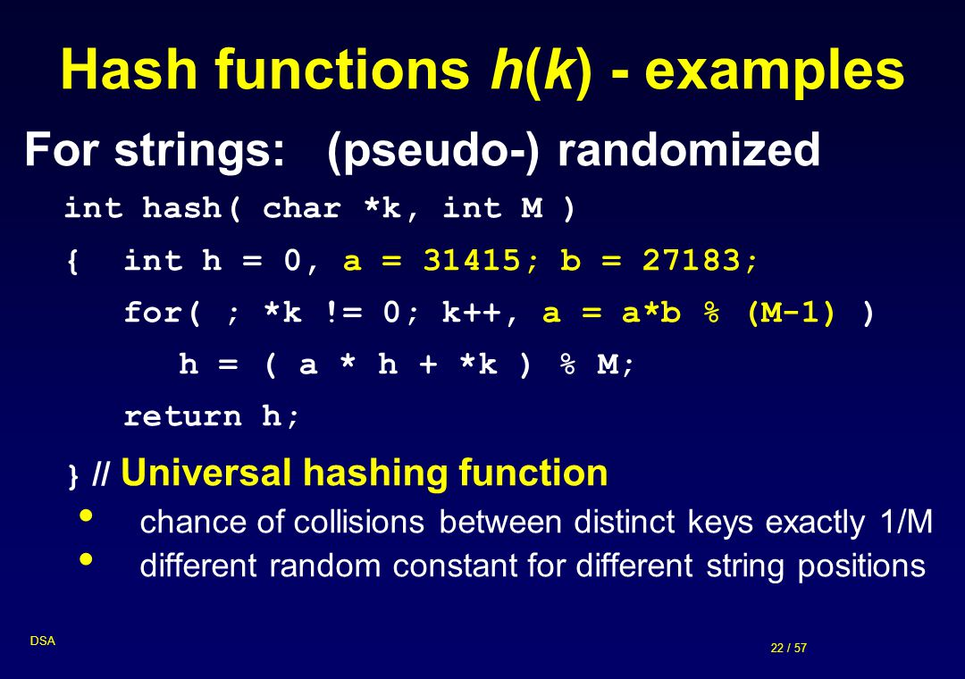 Hash functions h(k) - examples