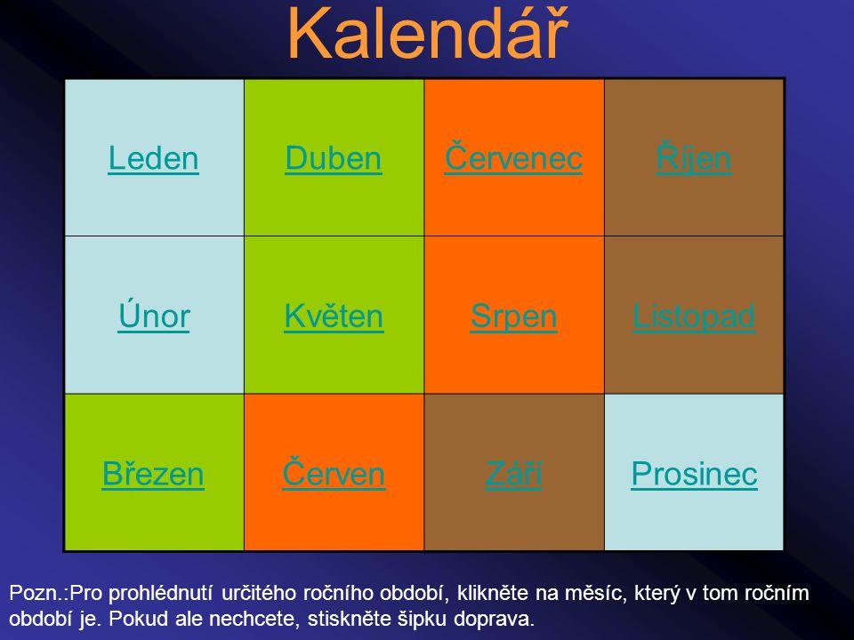 Kalendář Leden Duben Červenec Říjen Únor Květen Srpen Listopad Březen