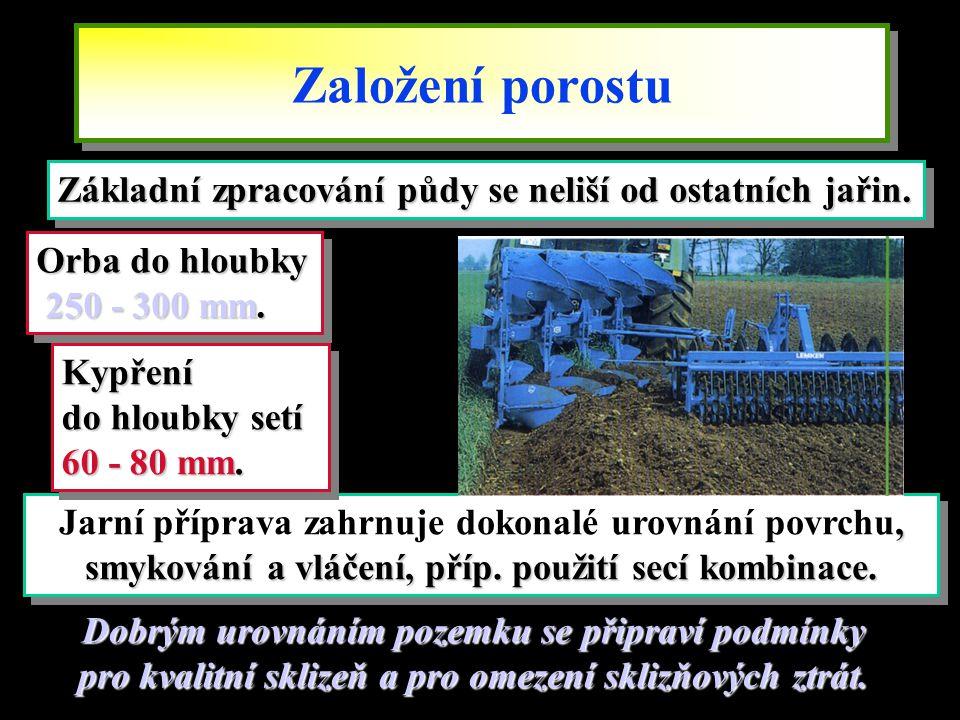 Založení porostu Základní zpracování půdy se neliší od ostatních jařin. Orba do hloubky. 250 - 300 mm.