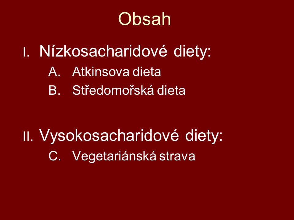 Obsah Nízkosacharidové diety: Vysokosacharidové diety: Atkinsova dieta