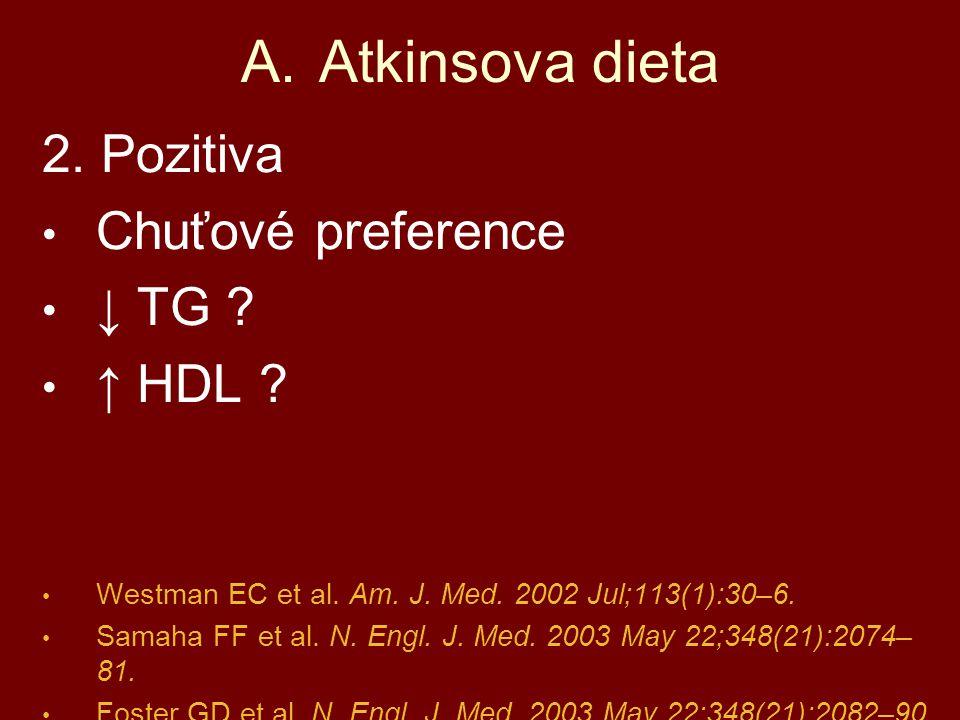 Atkinsova dieta 2. Pozitiva Chuťové preference ↓ TG ↑ HDL
