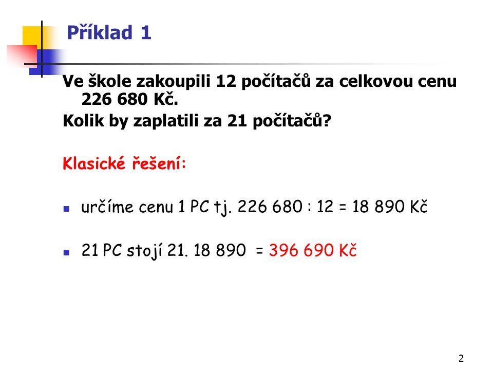 Příklad 1 Ve škole zakoupili 12 počítačů za celkovou cenu 226 680 Kč.