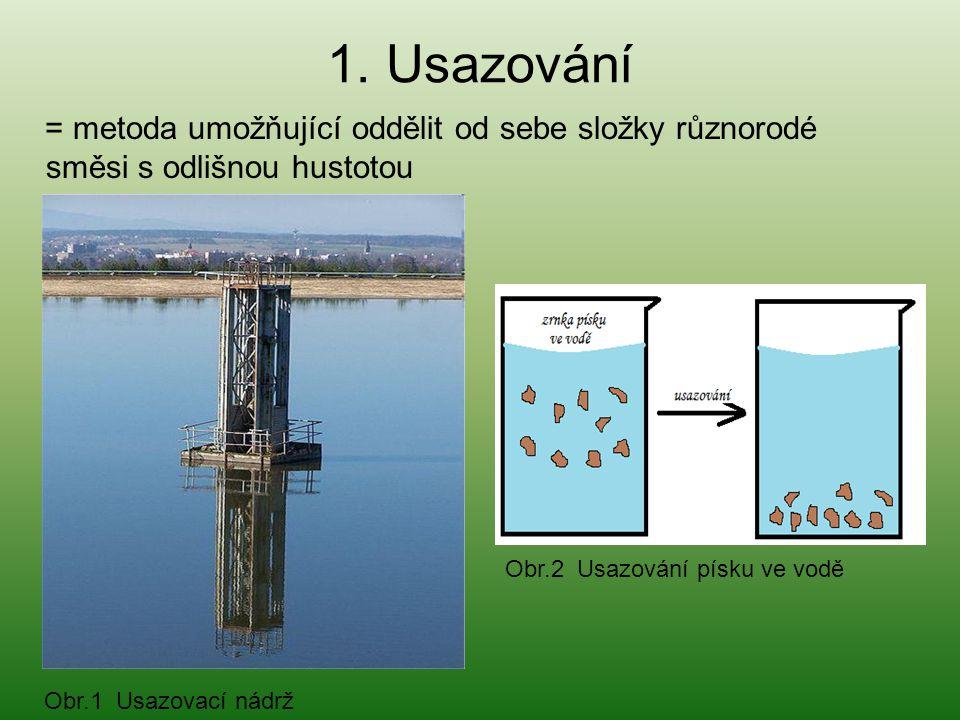 1. Usazování = metoda umožňující oddělit od sebe složky různorodé směsi s odlišnou hustotou. Obr.2 Usazování písku ve vodě.
