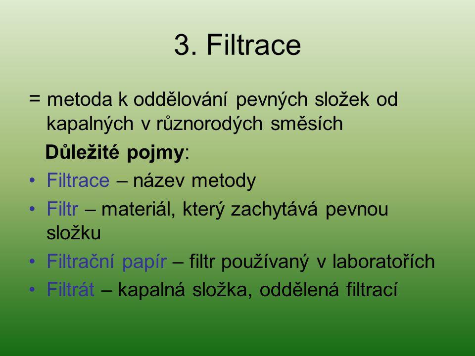 3. Filtrace = metoda k oddělování pevných složek od kapalných v různorodých směsích. Důležité pojmy: