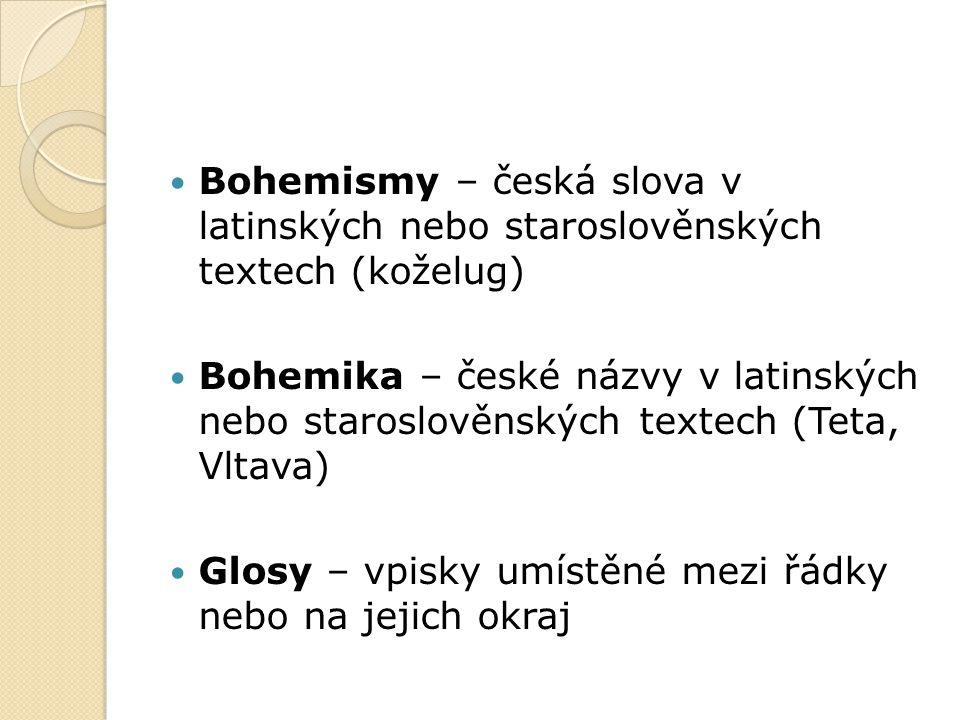 Bohemismy – česká slova v latinských nebo staroslověnských textech (koželug)