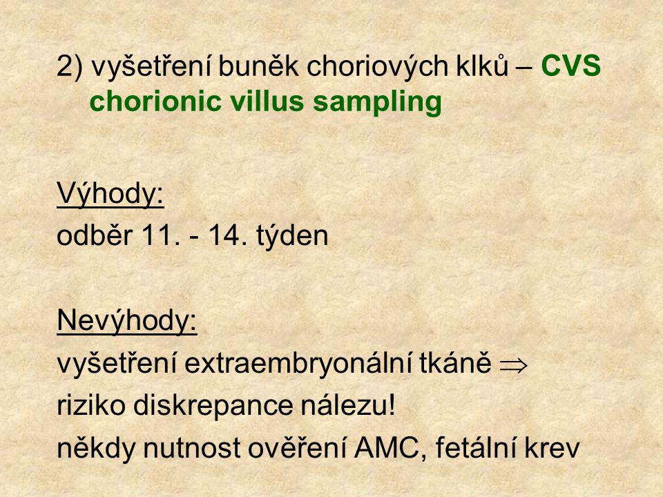 2) vyšetření buněk choriových klků – CVS chorionic villus sampling