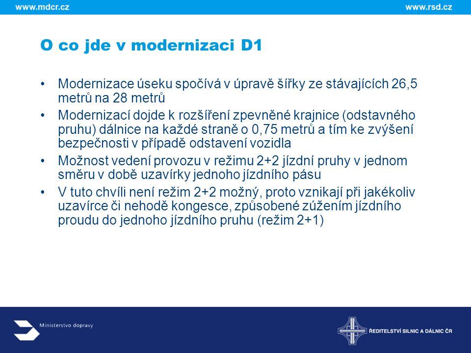 O co jde v modernizaci D1 Modernizace úseku spočívá v úpravě šířky ze stávajících 26,5 metrů na 28 metrů.