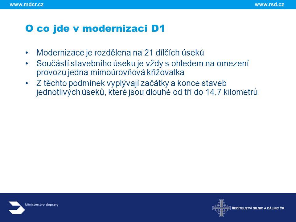 O co jde v modernizaci D1 Modernizace je rozdělena na 21 dílčích úseků
