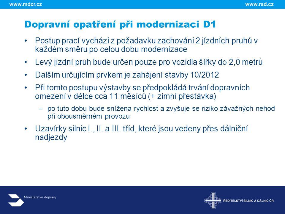 Dopravní opatření při modernizaci D1