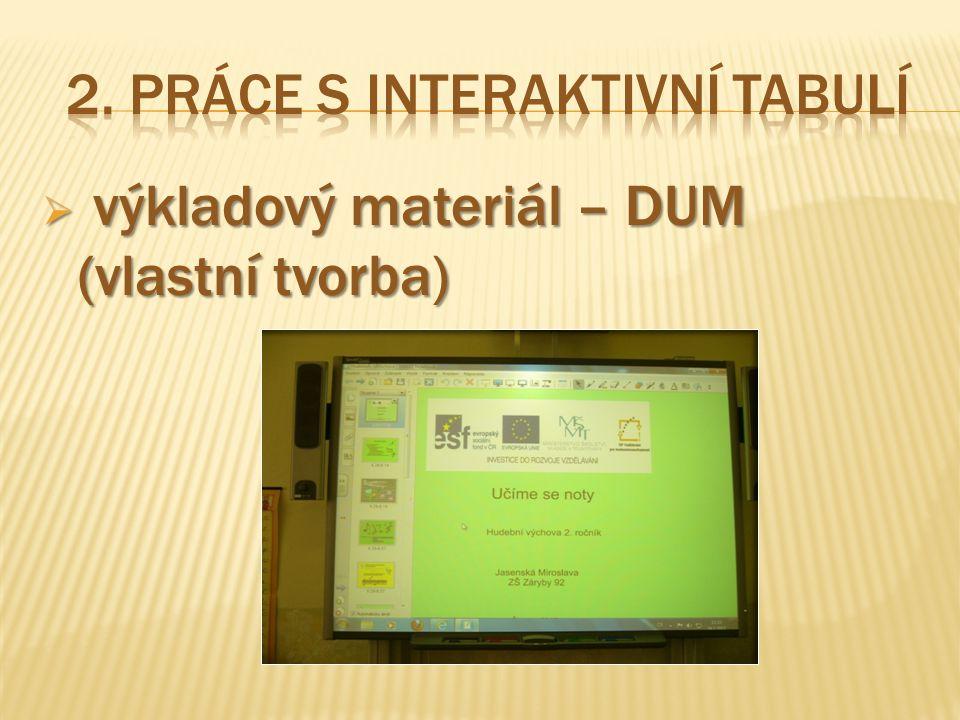 2. Práce s interaktivní tabulí