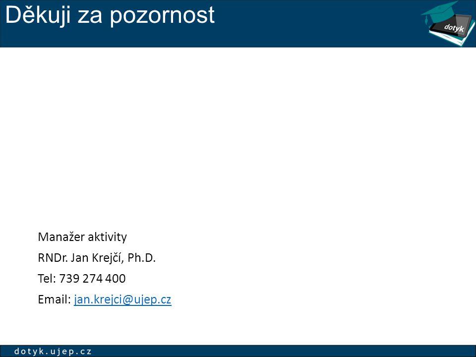 Děkuji za pozornost Manažer aktivity RNDr. Jan Krejčí, Ph.D.
