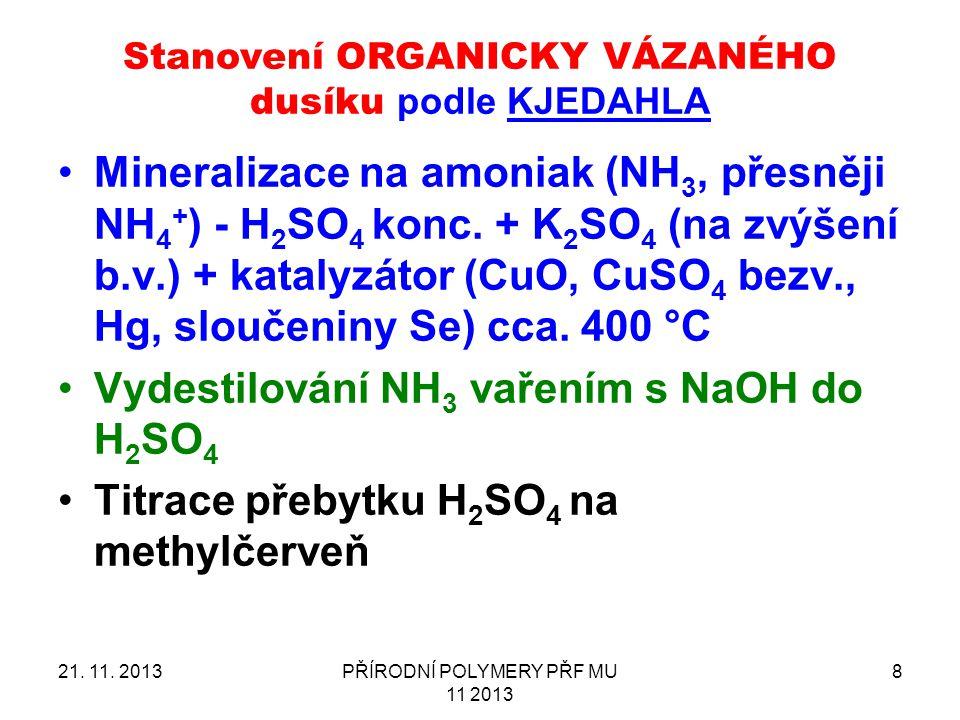 Vydestilování NH3 vařením s NaOH do H2SO4