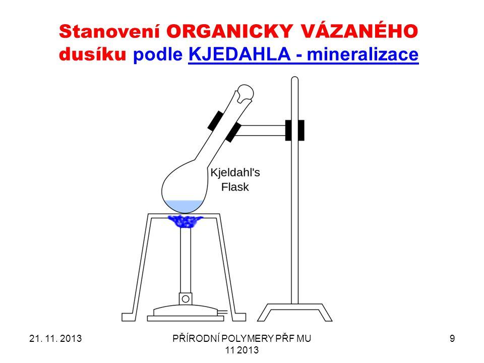 Stanovení ORGANICKY VÁZANÉHO dusíku podle KJEDAHLA - mineralizace