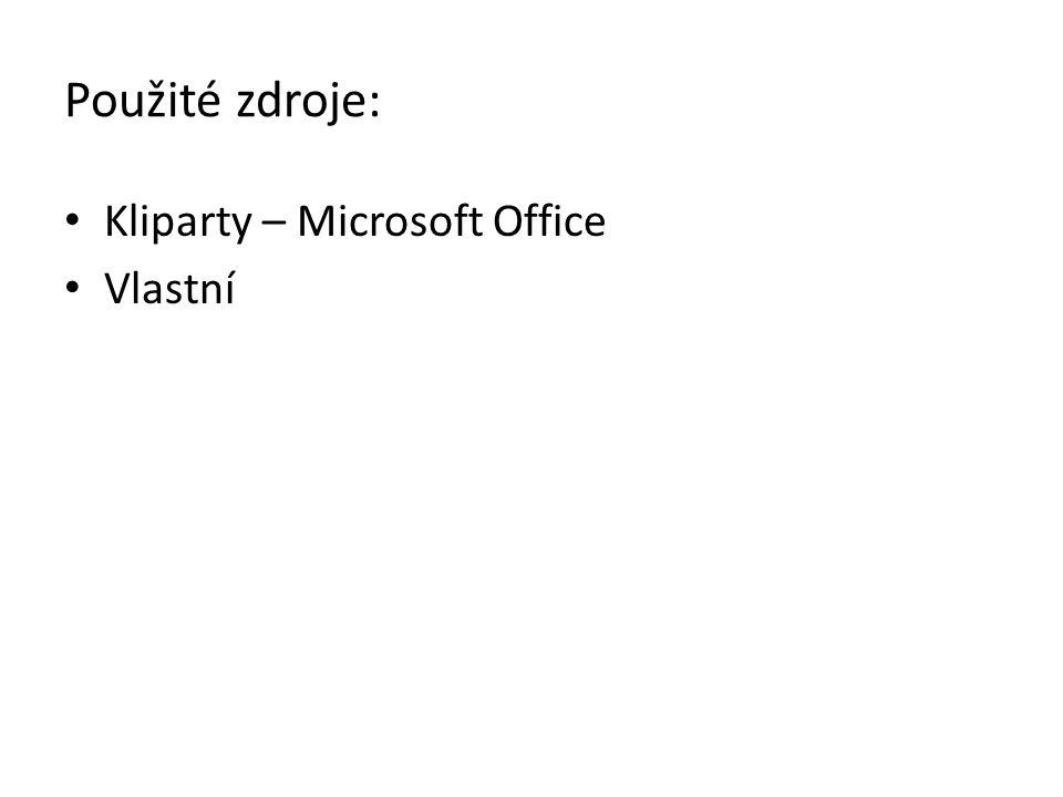 Použité zdroje: Kliparty – Microsoft Office Vlastní