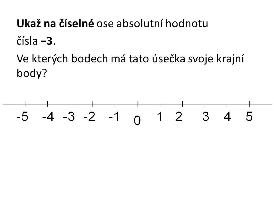 Ukaž na číselné ose absolutní hodnotu čísla −3