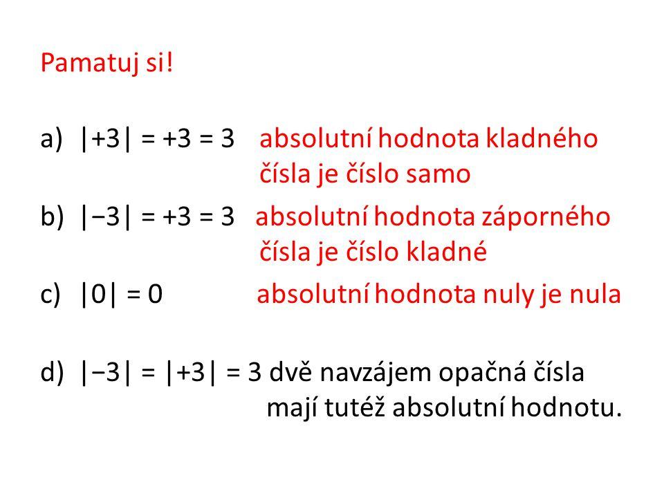 Pamatuj si! |+3| = +3 = 3 absolutní hodnota kladného čísla je číslo samo.