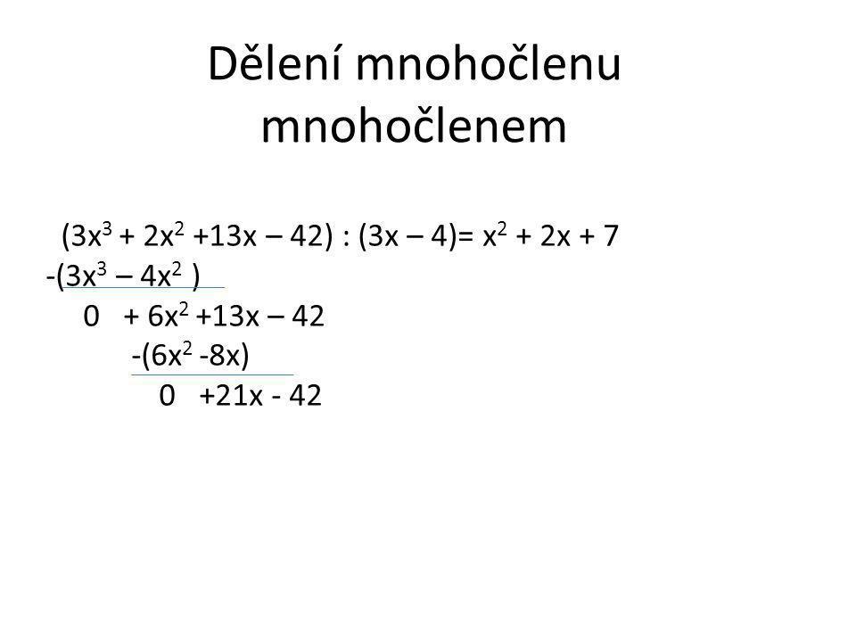 Dělení mnohočlenu mnohočlenem