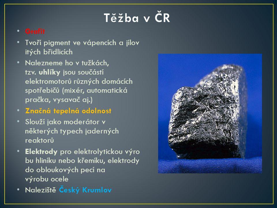 Těžba v ČR Grafit Tvoří pigment ve vápencích a jílovitých břidlicích