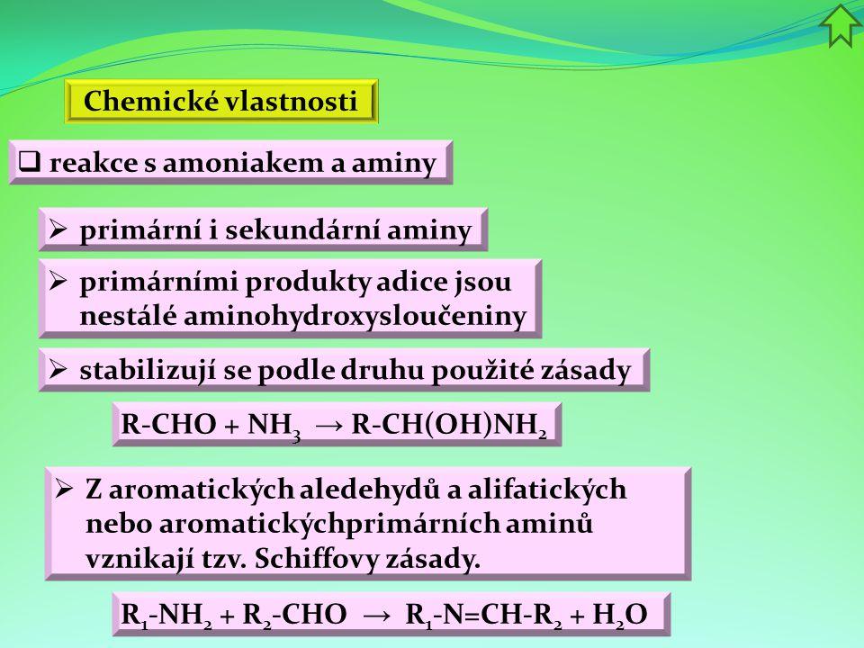 Chemické vlastnosti reakce s amoniakem a aminy. primární i sekundární aminy. primárními produkty adice jsou nestálé aminohydroxysloučeniny.