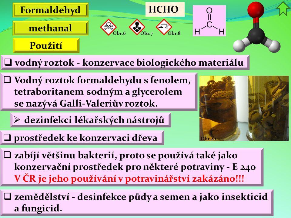 Formaldehyd methanal Použití
