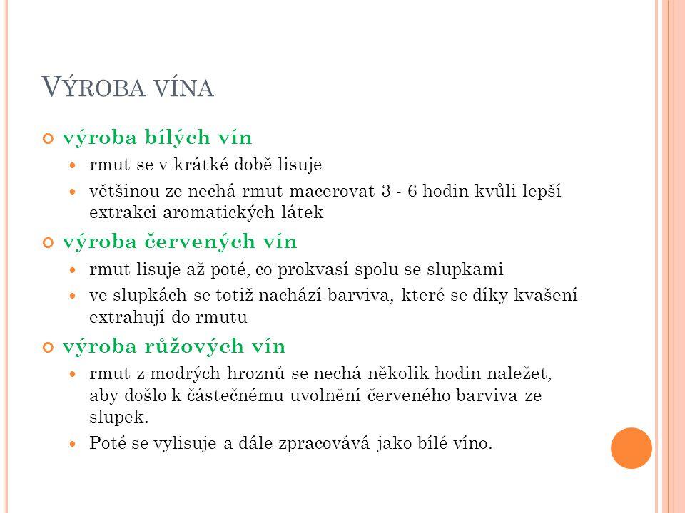 Výroba vína výroba bílých vín výroba červených vín výroba růžových vín