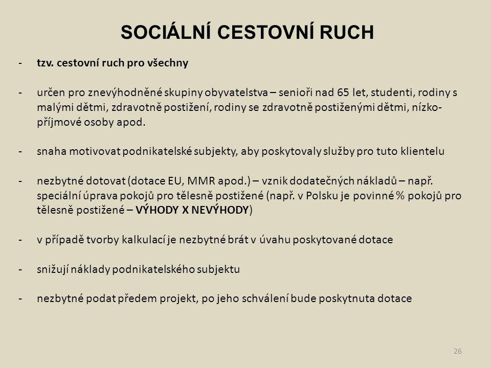 SOCIÁLNÍ CESTOVNÍ RUCH