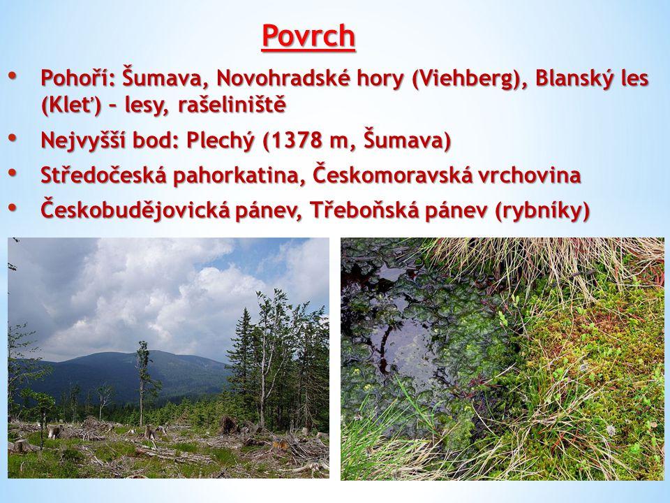 Povrch Pohoří: Šumava, Novohradské hory (Viehberg), Blanský les (Kleť) – lesy, rašeliniště. Nejvyšší bod: Plechý (1378 m, Šumava)