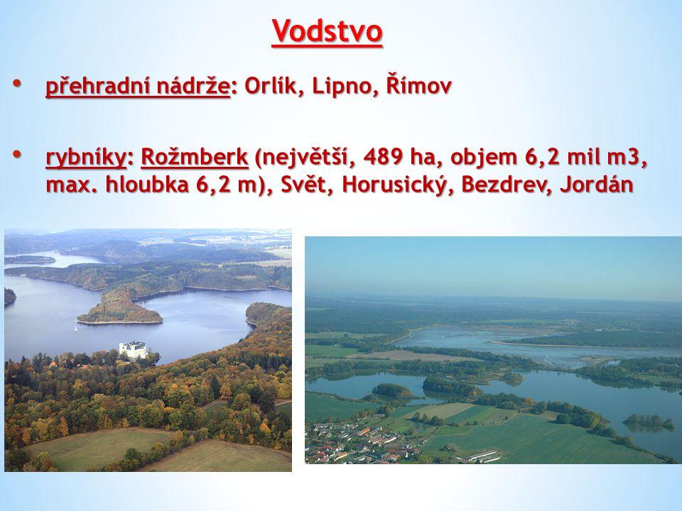 Vodstvo přehradní nádrže: Orlík, Lipno, Římov