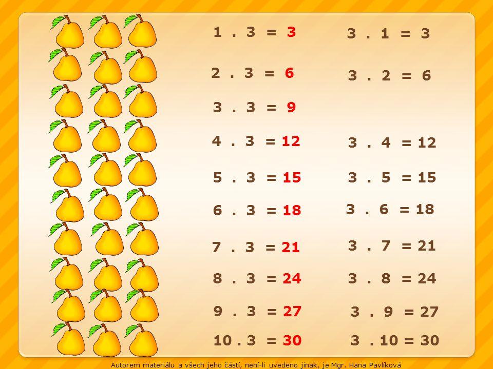 1 . 3 = 3 3 . 1 = 3. 2 . 3 = 6. 3 . 2 = 6. 3 . 3 = 9. 4 . 3 = 12. 3 . 4 = 12.