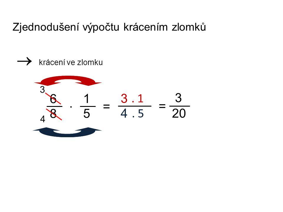 Zjednodušení výpočtu krácením zlomků