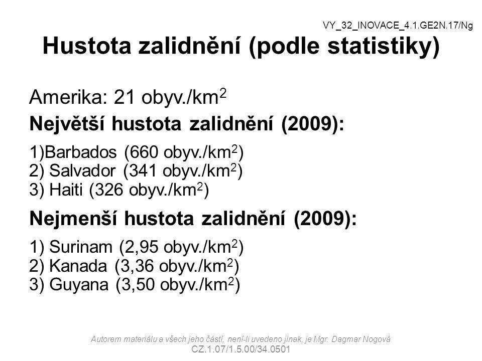 Hustota zalidnění (podle statistiky)