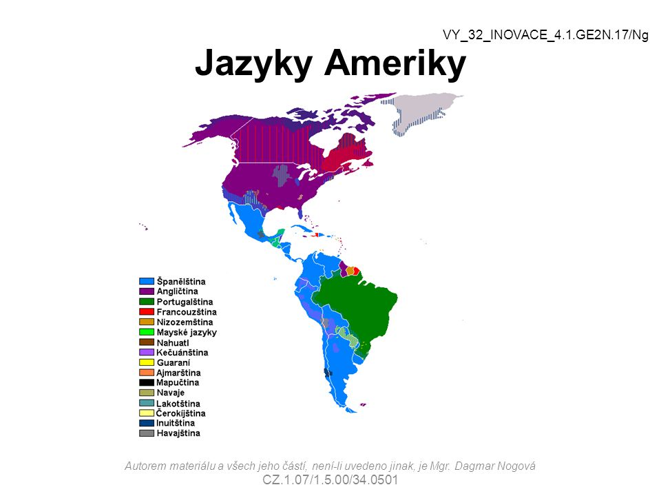 Jazyky Ameriky VY_32_INOVACE_4.1.GE2N.17/Ng