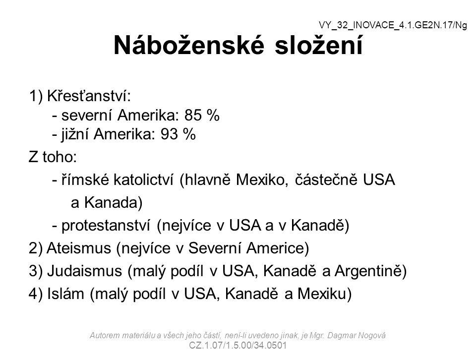 Náboženské složení VY_32_INOVACE_4.1.GE2N.17/Ng. 1) Křesťanství: - severní Amerika: 85 % - jižní Amerika: 93 %