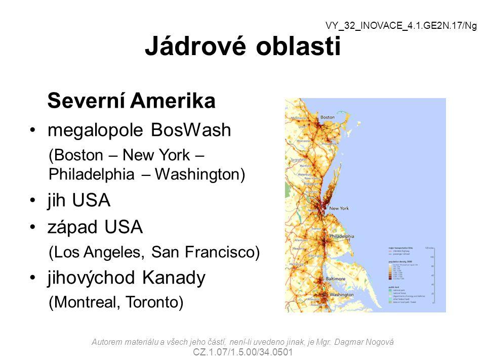 Jádrové oblasti Severní Amerika megalopole BosWash jih USA západ USA