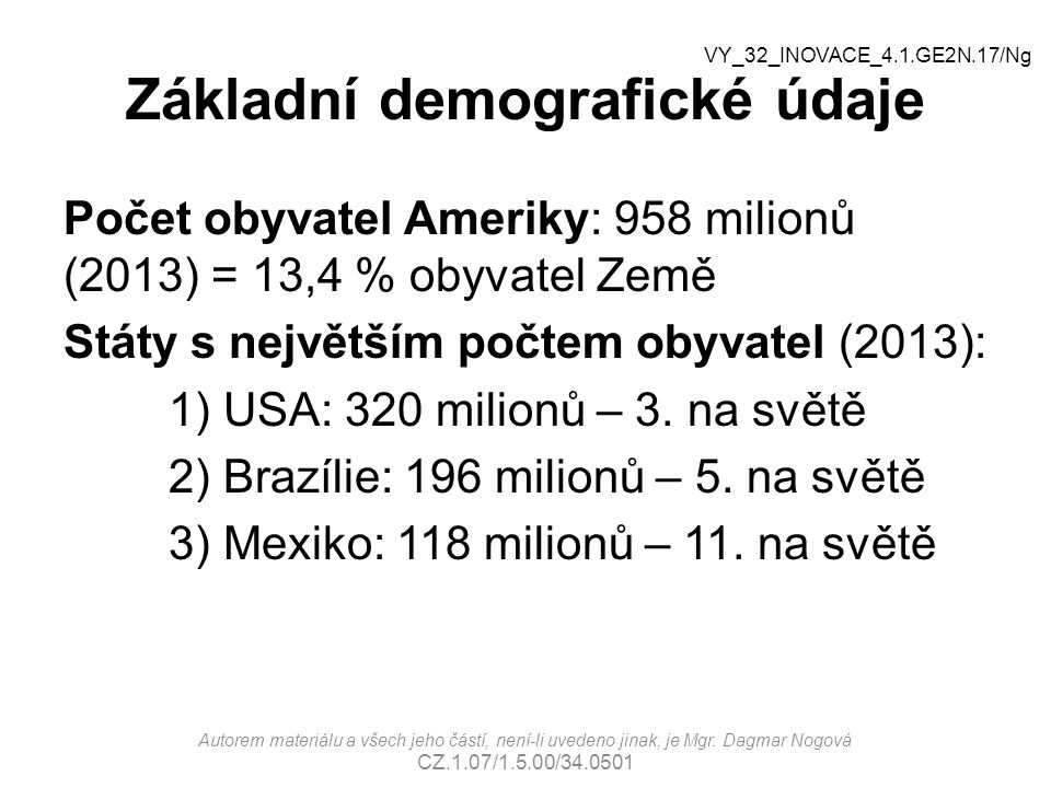Základní demografické údaje