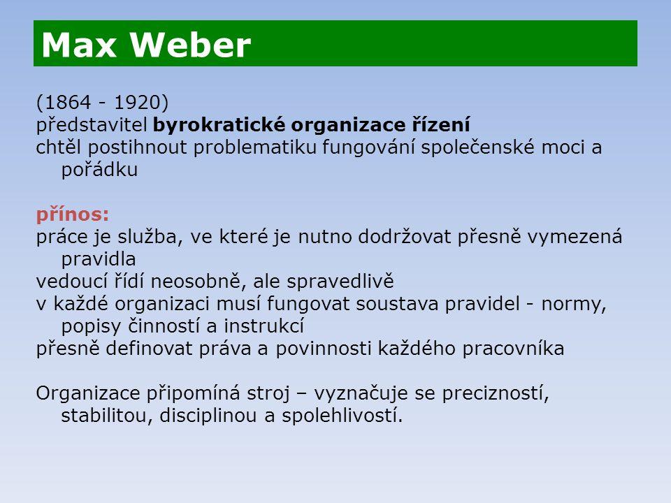 Max Weber (1864 - 1920) představitel byrokratické organizace řízení