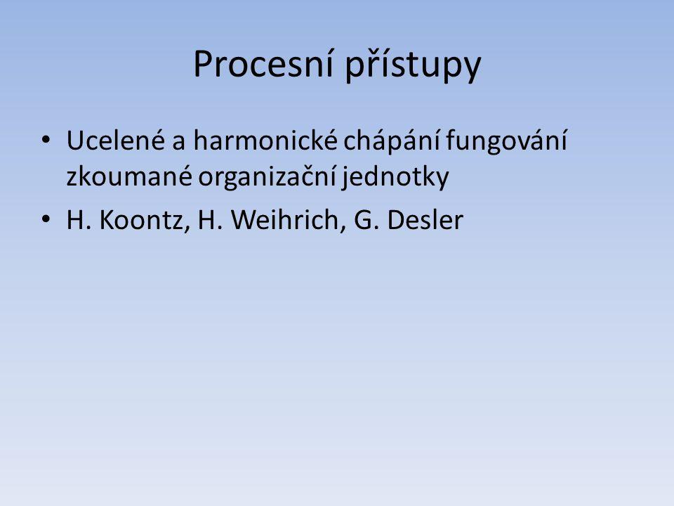 Procesní přístupy Ucelené a harmonické chápání fungování zkoumané organizační jednotky.