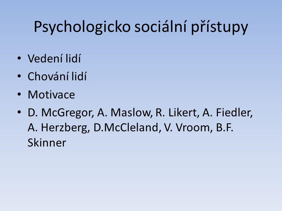 Psychologicko sociální přístupy