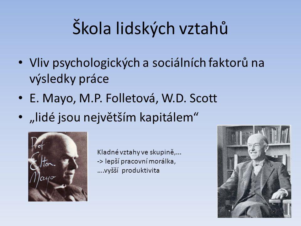 Škola lidských vztahů Vliv psychologických a sociálních faktorů na výsledky práce. E. Mayo, M.P. Folletová, W.D. Scott.
