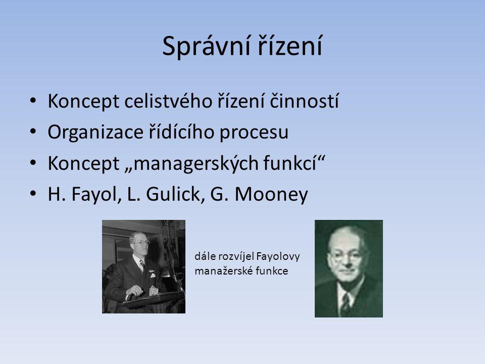 Správní řízení Koncept celistvého řízení činností