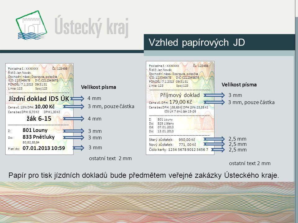 Vzhled papírových JD Pokladna č.: XXXXXXX ČL: 123456. Řidič: Jan Novák. Obchodní název Dopravce, pobočka.