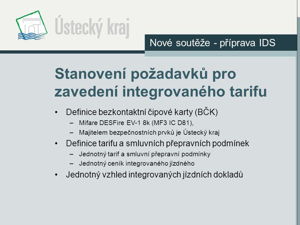 Stanovení požadavků pro zavedení integrovaného tarifu