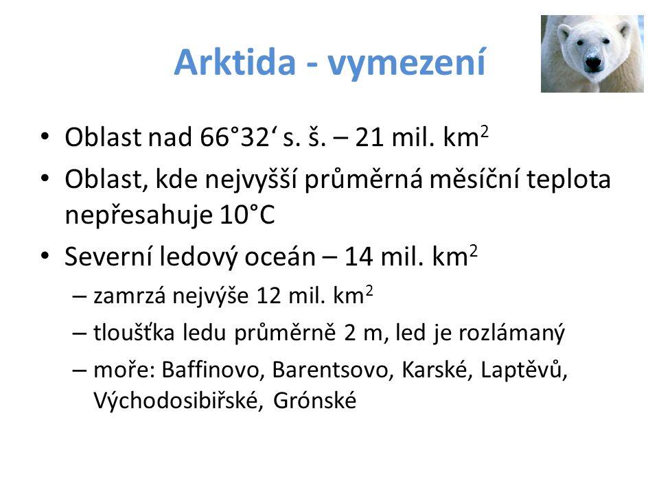 Arktida - vymezení Oblast nad 66°32' s. š. – 21 mil. km2