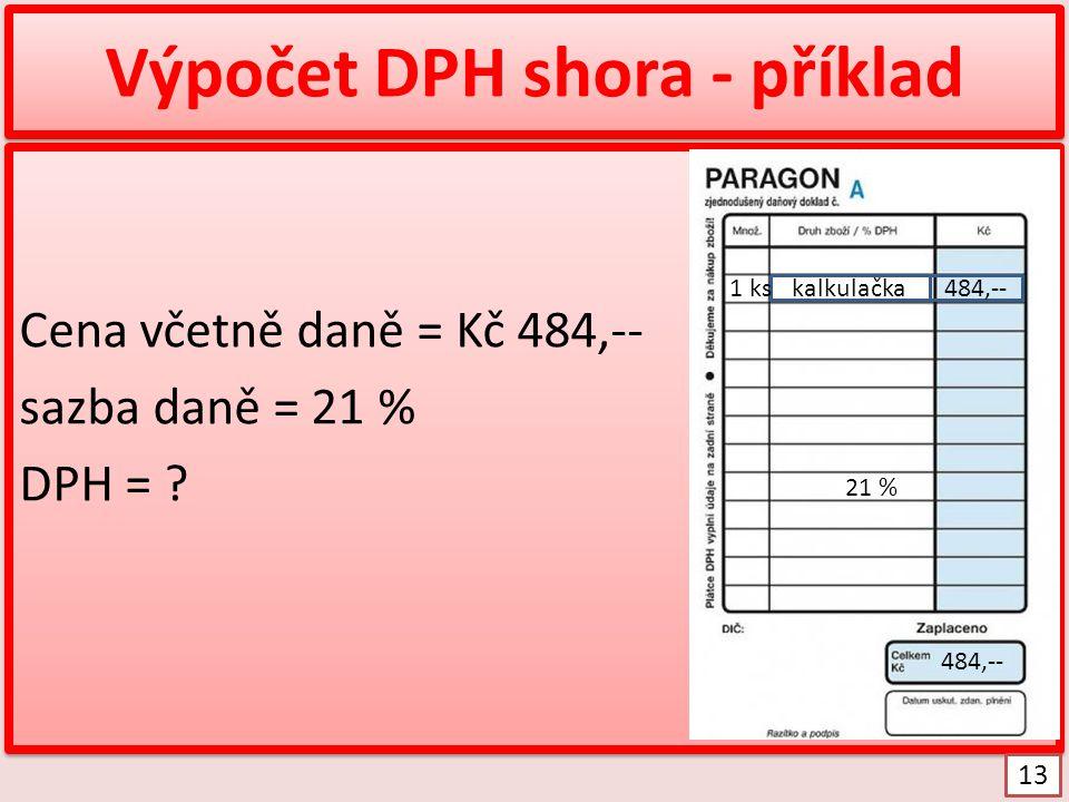 Výpočet DPH shora - příklad
